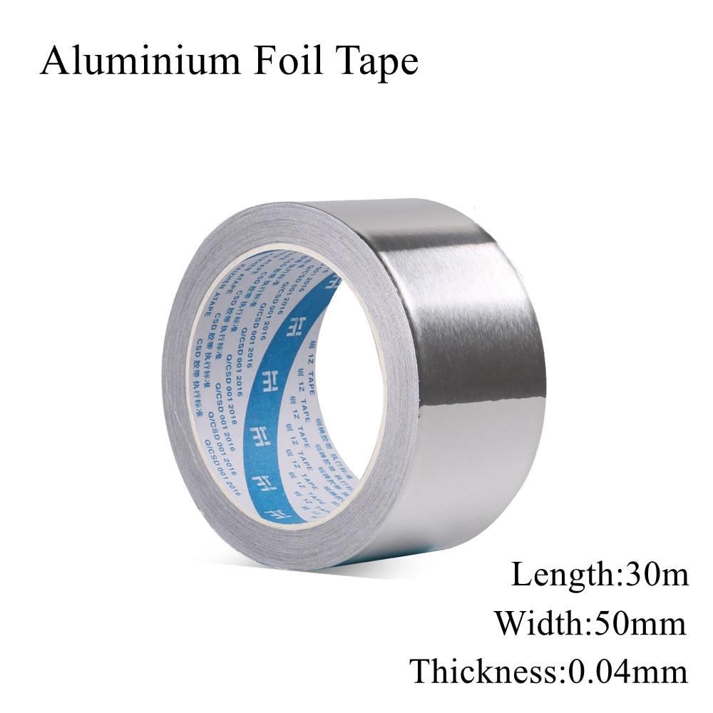 50mm x 30m Aluminium Folie Klebeband Dicht Band Wärme Widerstand Rohr Reparatur Hohe Temperatur Beständig Reflexion Wasser-beweis