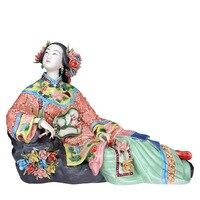 Classical Ladies Spring Craft Painted Art Figure Statue Ceramic Antique Chinese Porcelain Figurine Home Decorations