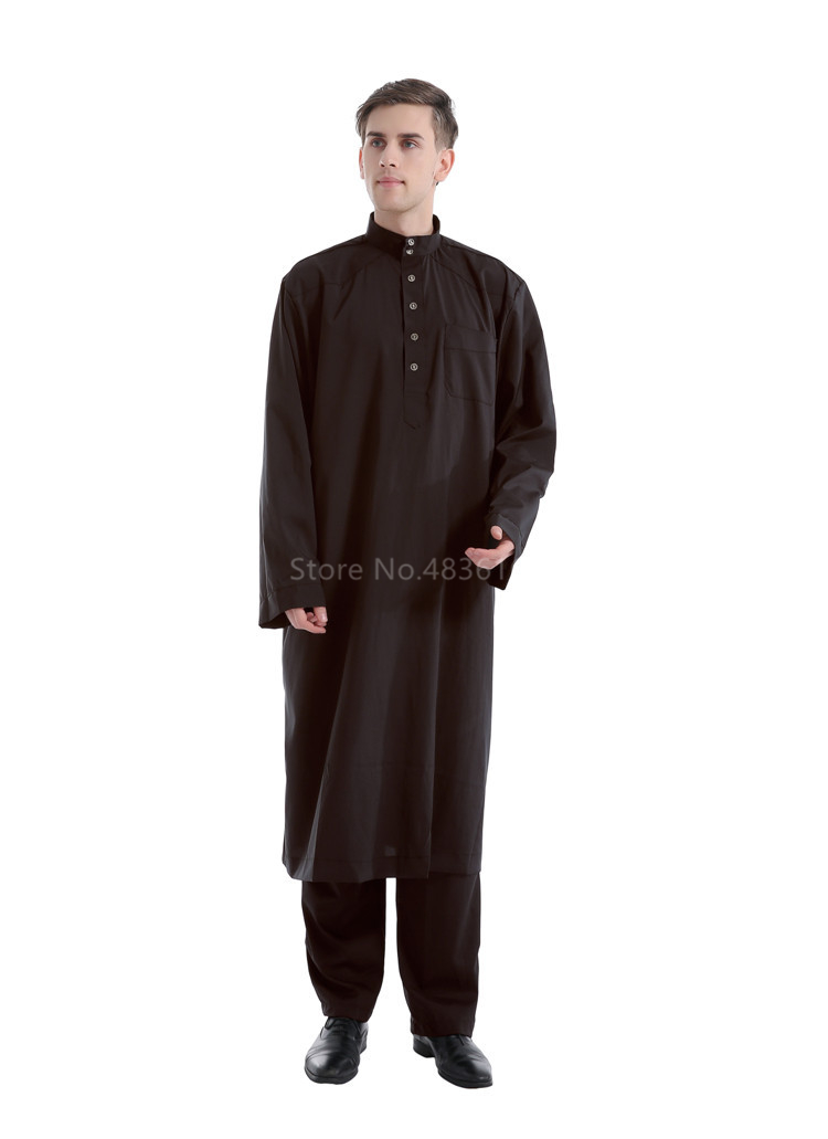 Hf3db693c759d4f58a07d97d75c7974fe7 - Islamic Clothing Men Muslim Robe Arab Thobe Ramadan Costumes Solid Arabic Pakistan Saudi Arabia Abaya Male Full Sleeve National