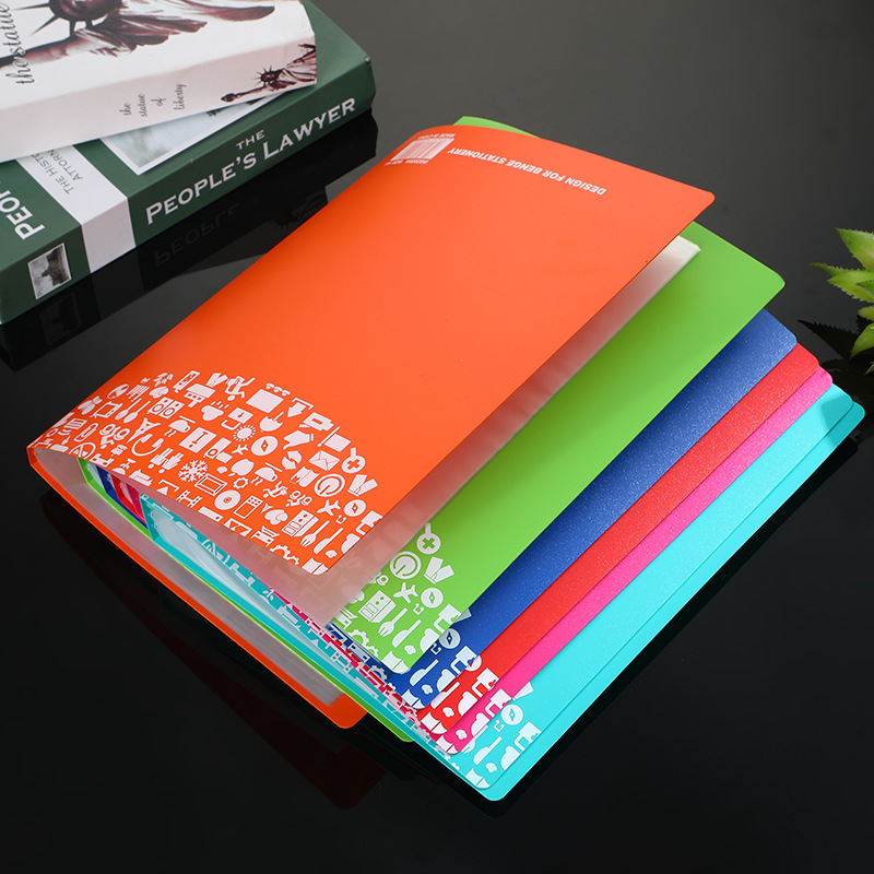 Color Environmental Protection PP Plastic A4 Information Booklet Creative Multi-layer Loose-leaf Office Folder Storage Booklet