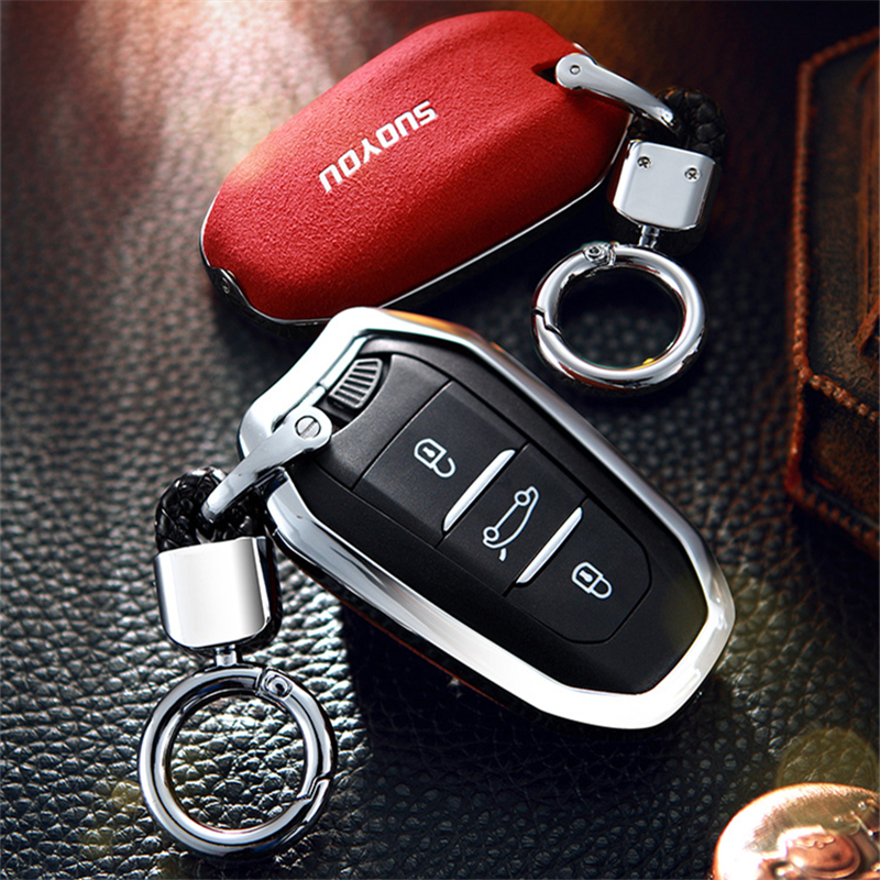 Suede Fur Zinc alloy Car <font><b>Key</b></font> Case for <font><b>Peugeot</b></font> 301 308 308S 408 2008 3008 4008 <font><b>5008</b></font> 508 RCZ, 208, 307 Protector <font><b>Cover</b></font> Accessories image