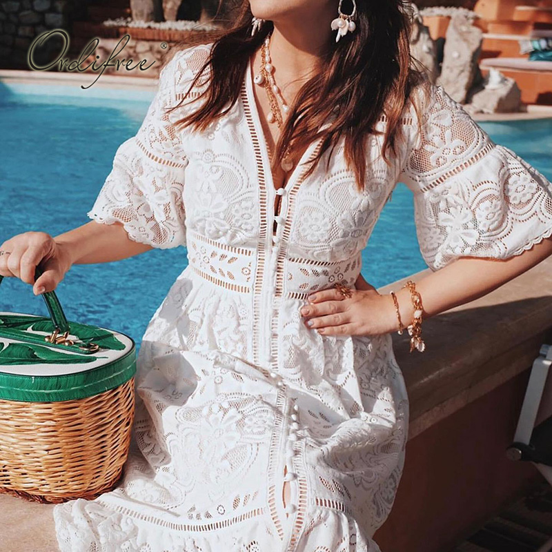 Ordifree 2019 Summer Elegant Women Party Dress Vintage Short Sleeve White Lace Beach Dress Holiday Clothes