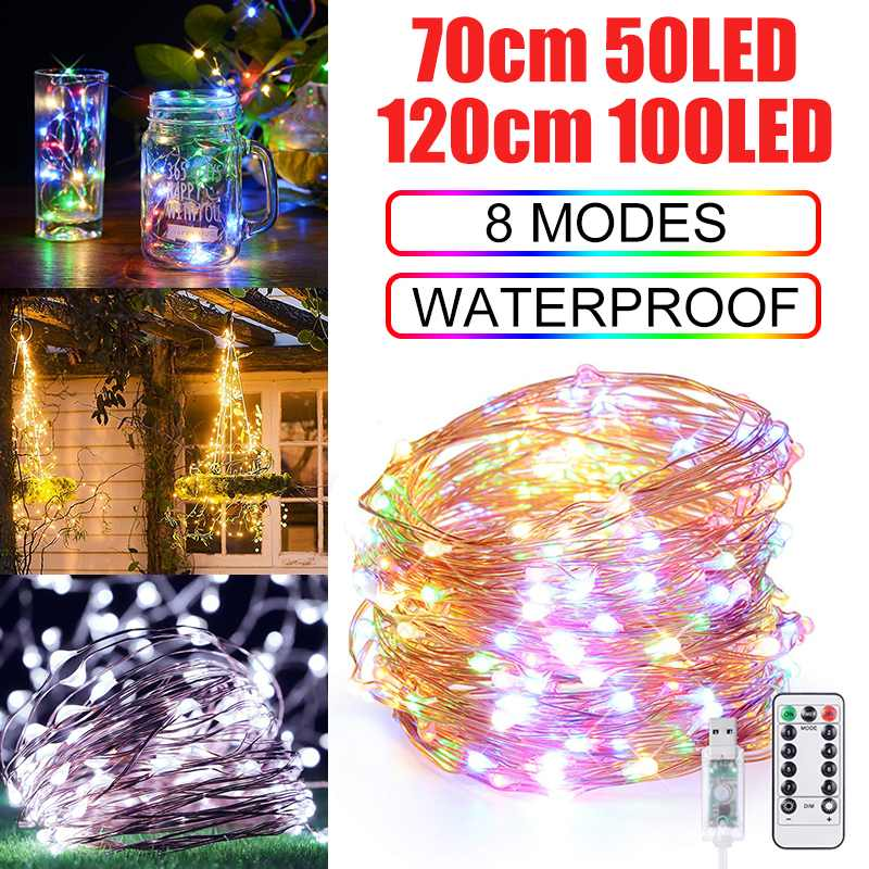 50/100LED Fairy String Light 8 Modes Outdoor/Indoor IP65 Garden Party Wedding USB Lighting Strings With Remote Control
