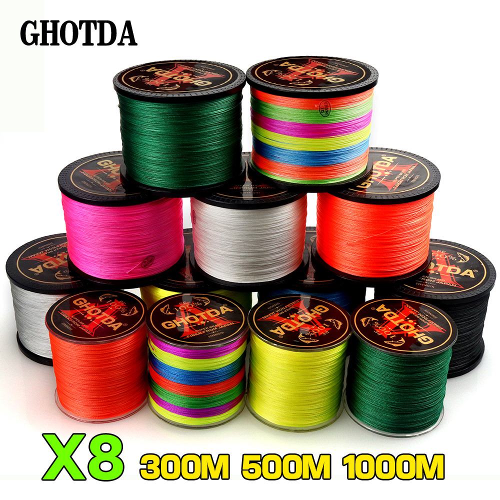 GHOTDA 8 Strands 1000M 500M 300M PE Braided Fishing Line 0.14-0.50mm 18-78lb Saltwater Fishing Weave Super Strong 8 Braid