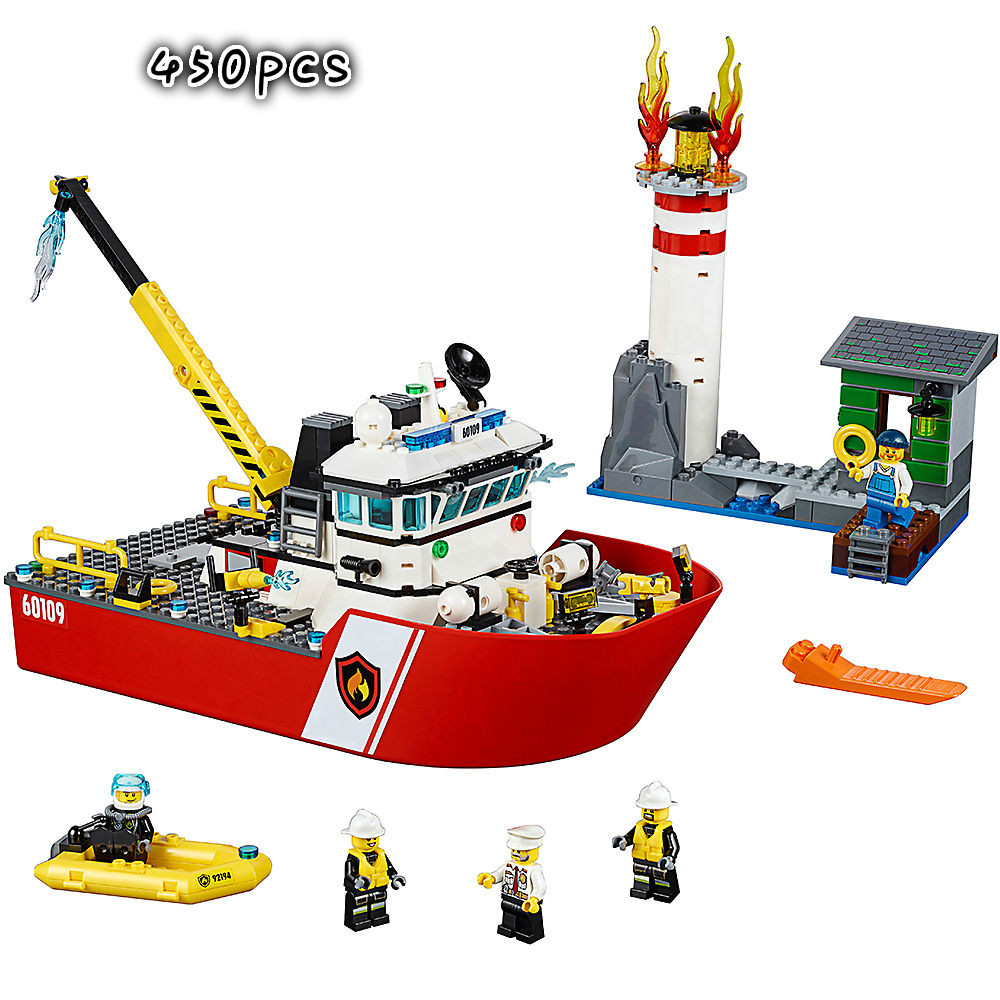 450PCS Fire Boat Compatible Legoinglys City Fire <font><b>60109</b></font> Building Blocks Bricks Model Toys for Childrens Kid Gift image