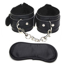 SM Sex toys Soft Comfortable PU Fur Leather Handcuffs Wrist Cuffs and Blindfold Eye Mask New Fun must men and women flirting(China)