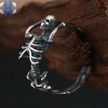 Full Body Skeleton Skull Ring S925 Sterling Silver Jewelry Rock Dark Realistic Skull Ring vintage skeleton skull king 925 sterling silver men ring