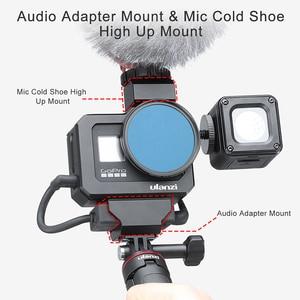 Image 2 - Ulanzi מתכת Vlog כלוב מקרה עבור Gopro 8 שחור קר נעל מיקרופון מתאם מקרה עבור LED אור מיקרופון Gopro סוללה מיקרופון מתאם