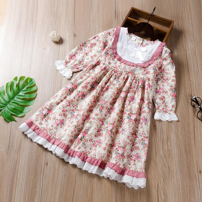 New Kids Long Sleeve Dresses Baby Girls Flower Printed Princess Dress Spring Children Clothing 0-4 Years Girl Elegant Outfits