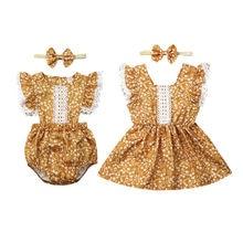 Новинка; комбинезон для маленькой Большой Сестры; платье; Модная одежда для маленьких девочек; Одинаковая одежда