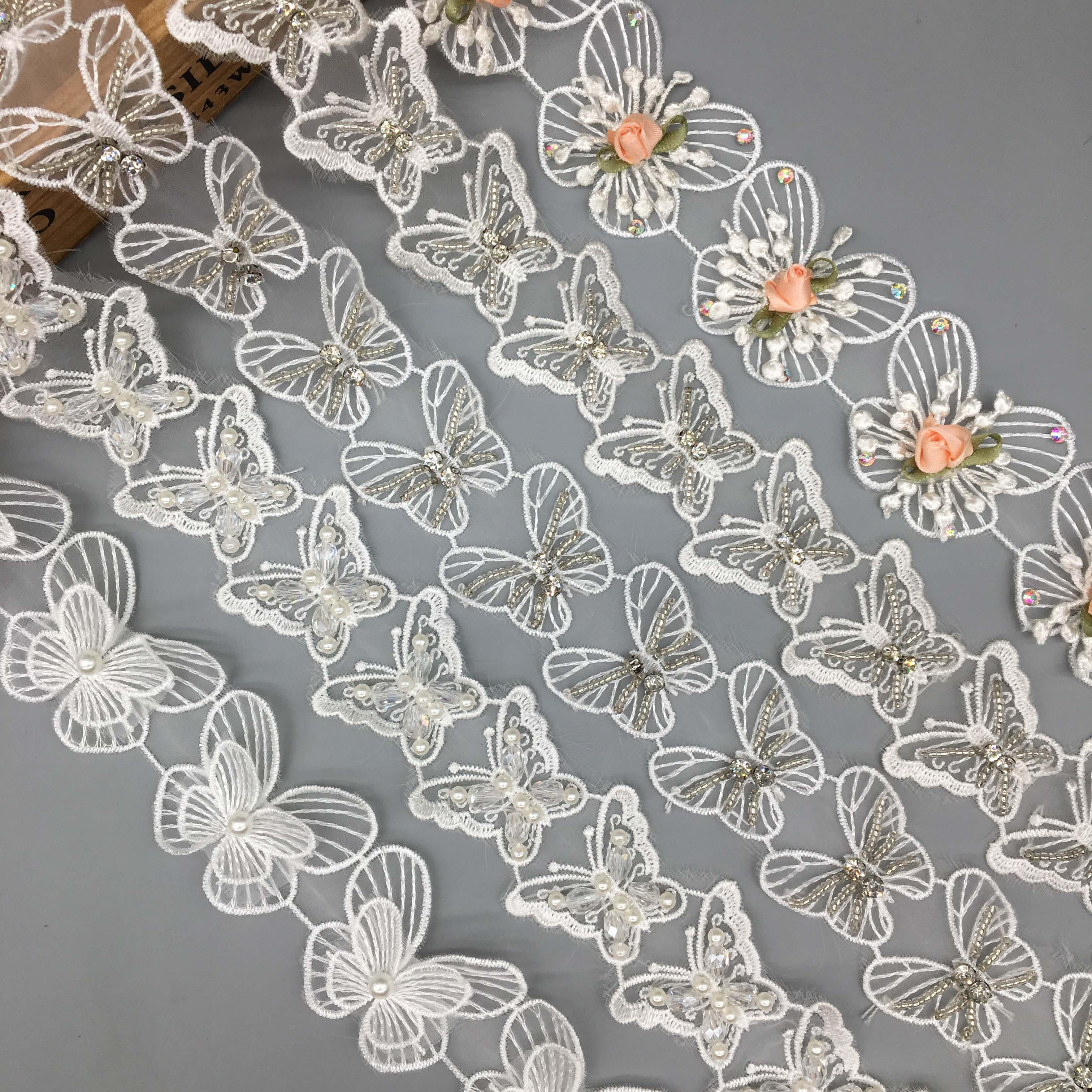 1 Yard Embroidered Pearl Beads Trim Ribbon Sewing Applique DIY Wedding Decor
