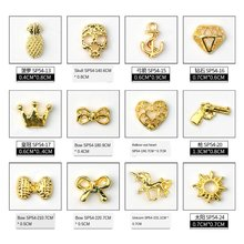 Design Nail Art Decoration Gold Silver Color Retro Skull Crown Heart Japanese Metal Alloy Nail Art Jewelry Rhinestone 50pcs/set(China)