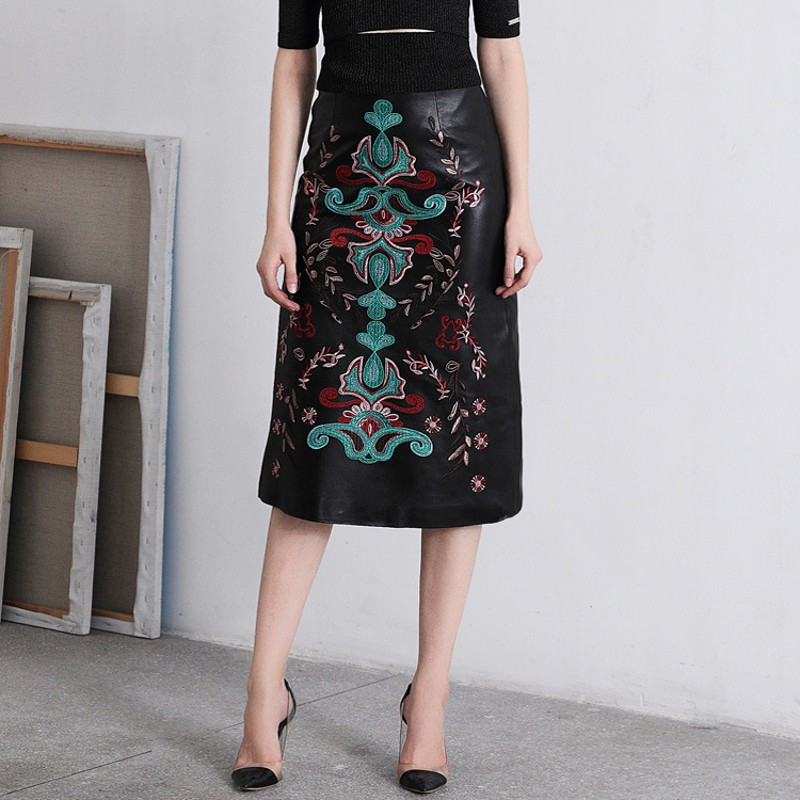 Closeout DealsÄSkirts Sheepskin-Skirt Indie Embroidered Real-Leather Women Flower Spring Office Vintage▓