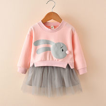 Girls Princess Dress Autumn 2020 Girls Cute Cartoon Print Patchwork Sweatshirt Tulle Party Dress For Children Girl Dress Vestido(China)