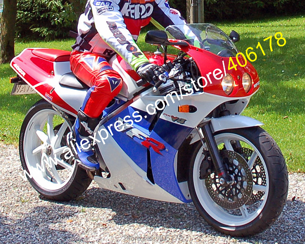 For VFR400R NC30 V4 VFR400RR 1988 1989 1990 1991 1992 VFR400 88 89 <font><b>90</b></font> 91 92 Red Blue White Moto Fairing image