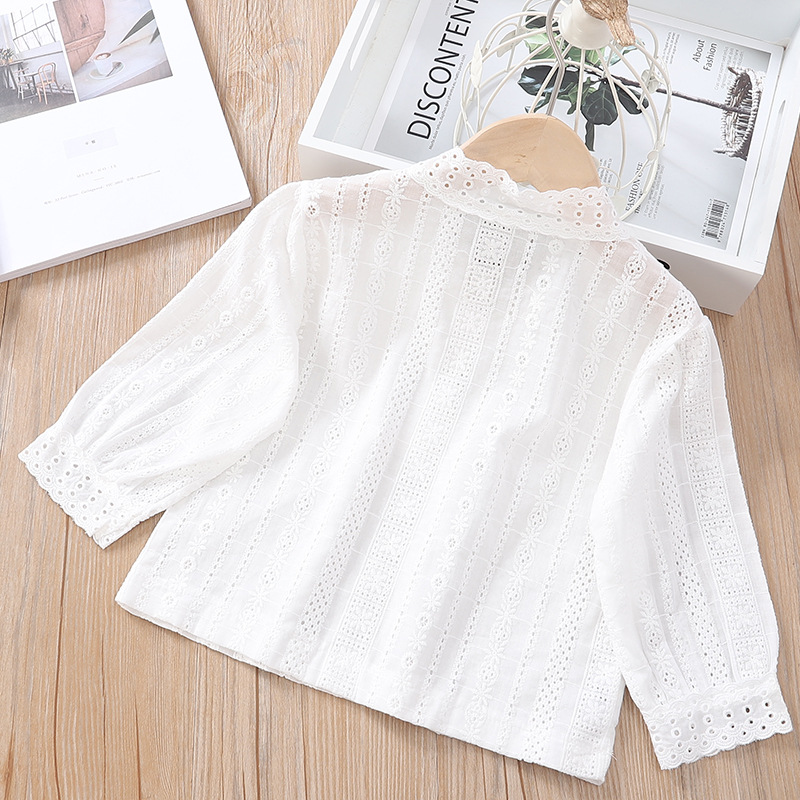 Girl'S Shirt Autumn 2019 New Style Korean-style Baby Girls Western Style Lace Long-sleeved Upper Garment Solid Color Shirt Fashi