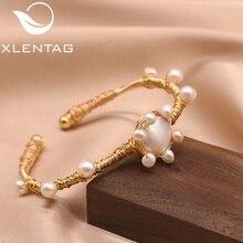 XlentAg Original Natural Fresh Water Baroque Pearl Adjustable Bangle Bracelet For Women Wedding Gift Luxury Fine Jewelry GB0101