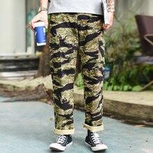 Saucezhan Tiger Stripe Pants Military Pants Mans Pants Vintage Cargo Pants Loose Straight Men's Casual Pants Camouflage pants