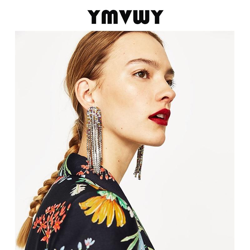 YMVWY New ZA Rhinestone Crystal Long Tassel Earrings For Women Bridal Wedding Drop Dangling Earrings Brincos Wedding Jewelry