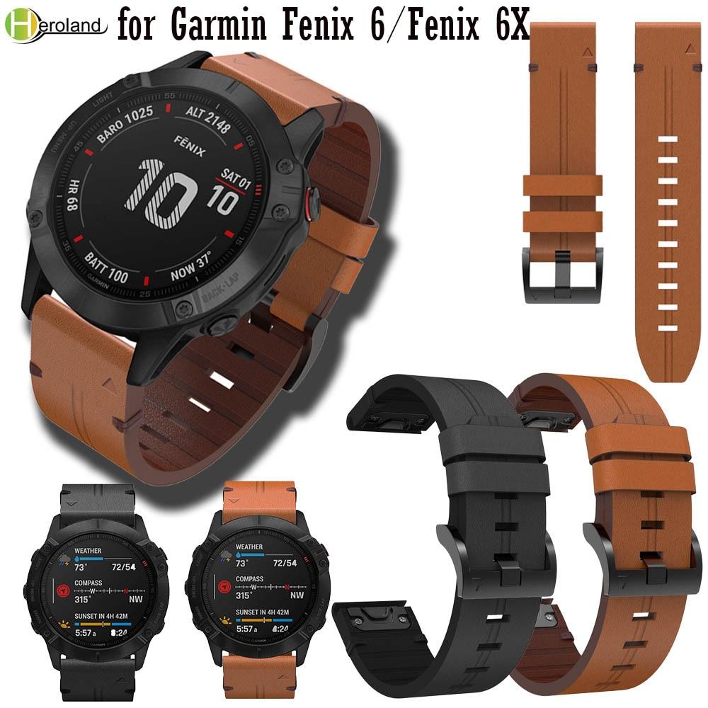 22mm 26mm Quick Release Leather Watchband Bracelet For Garmin Fenix 6 5 / Fenix 6X Pro 3 3 HR Smart Watchband Easyfit Wriststrap