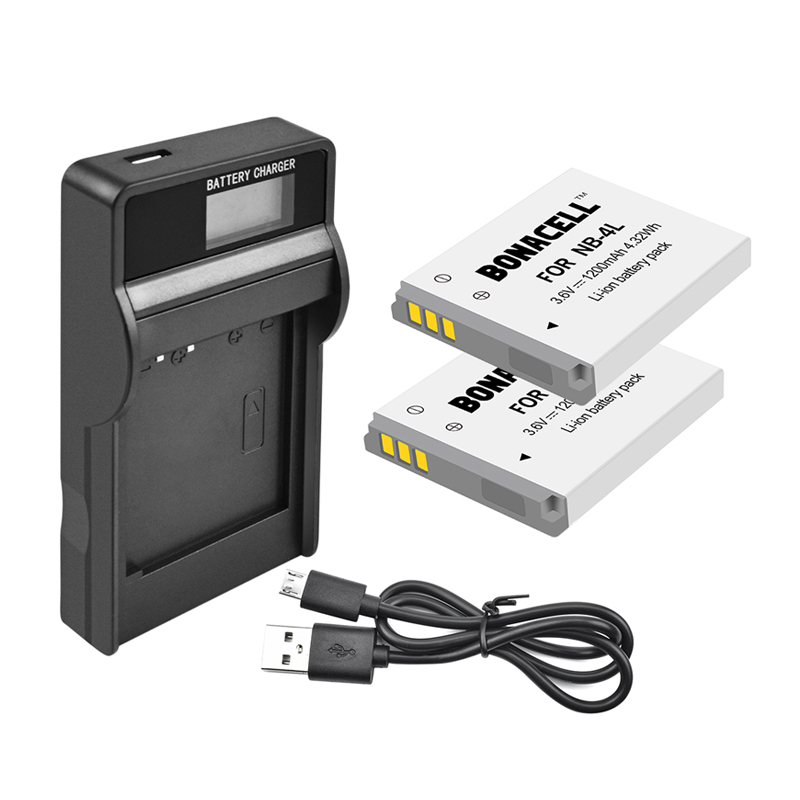 SD960 High-Capacity Replacement NB-4L Battery & Charger for Canon ...