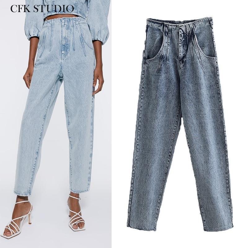 ZA Women Jeans 2020 New Fashion High Waist Pocket Zipper Streetwear Denim Plus Size Femme Straight Pants Loose Woman Jeans