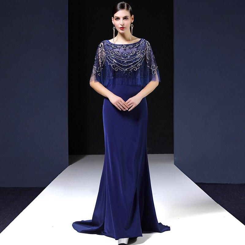 Русалка Вечерние платья с золотым бисером длина до пола вечерние выпускные платья обёрточная бумага стиль короткий рукав Robe De Soiree