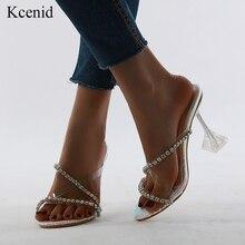 Kcenid PVC 透明ラインストーンクリスタルスリッパ靴 2020 夏クリアハイヒール女性ダイヤモンドサンダルオープントゥパーティー靴