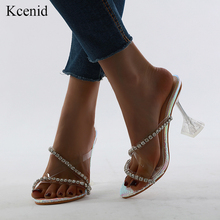 Kcenid PVC transparent rhinestone crystal slipper shoes 2020 summer clear high heels ladies diamond sandals open toe party shoes