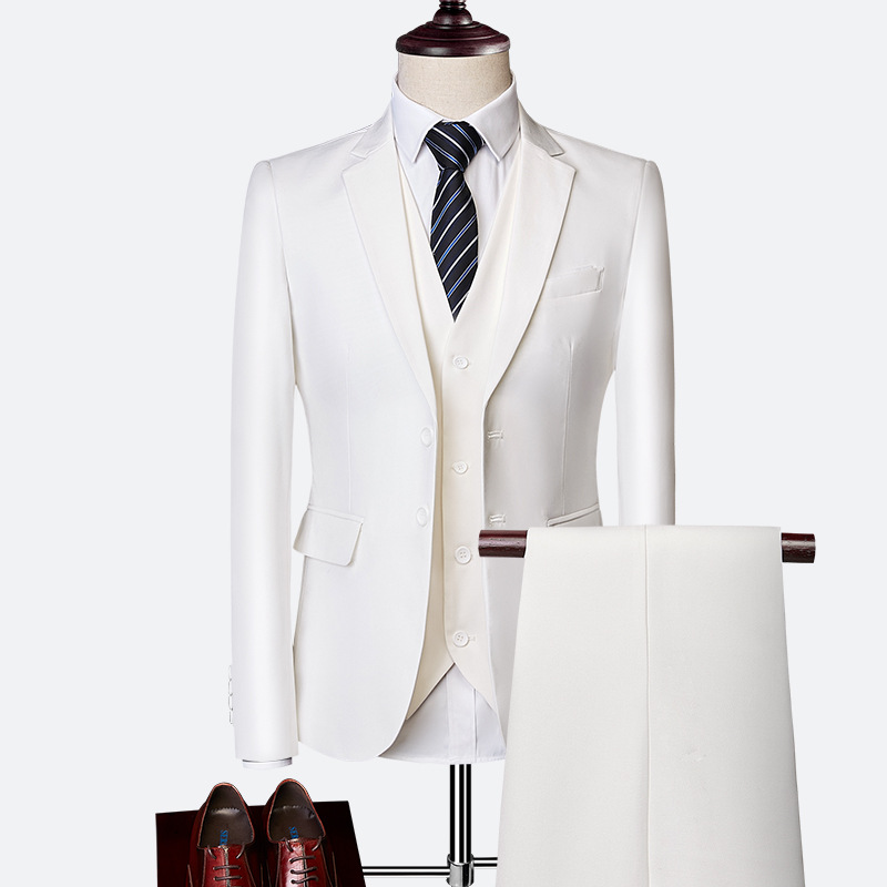 2020 New Men Business Casual Suits Sets Fashion Men Suits For Wedding Male Blazers Coat Trousers Waistcoat Jacket + Pant + Vest