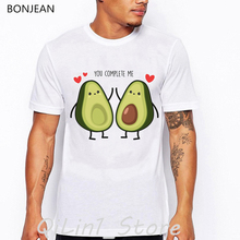 Avocado vegan tshirt men you complete me letter print t-shirt homme funny graphic t shirts camisetas hombre streetwear tops avocado print t shirt