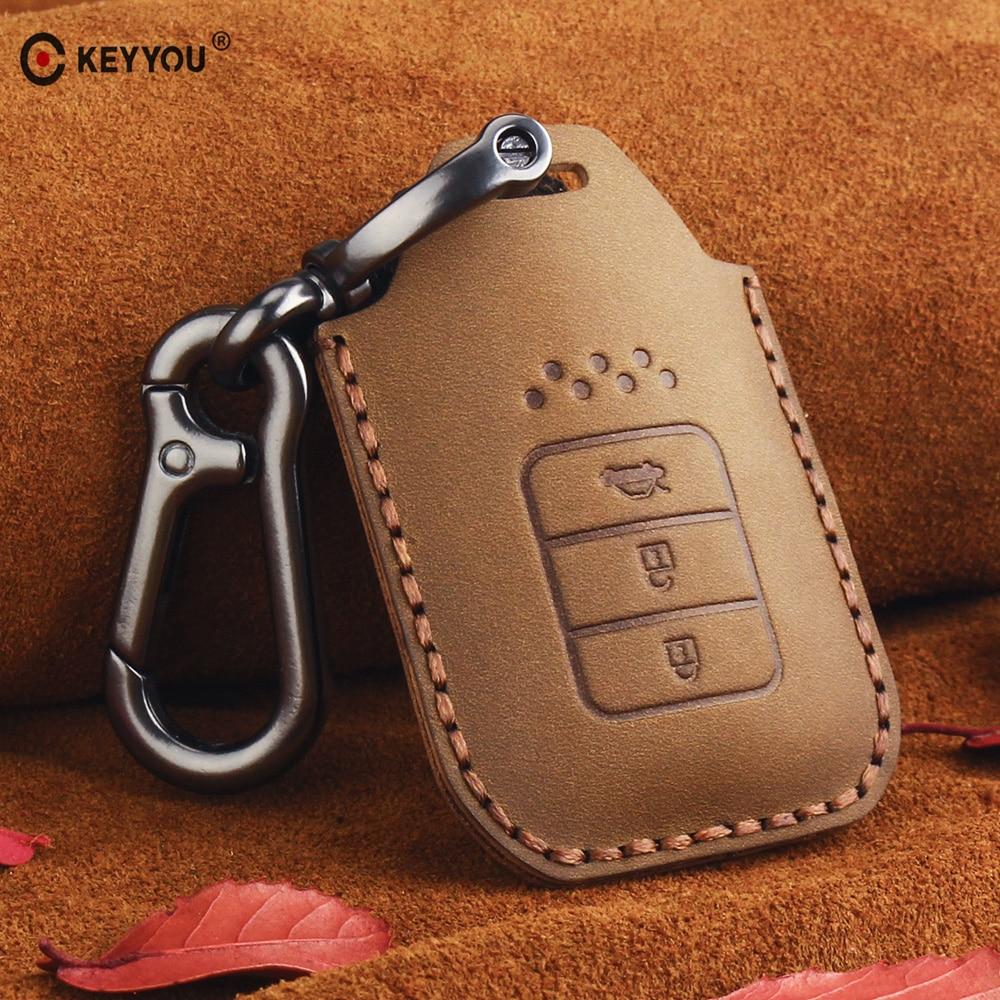 KEYYOU Leather Car Key Case Cover for Honda Accord 9 Crider City 2015 2016 HRV CRV Vezel Spirior Odyssey Civic Fit Jade|Key Case for Car| |  - title=