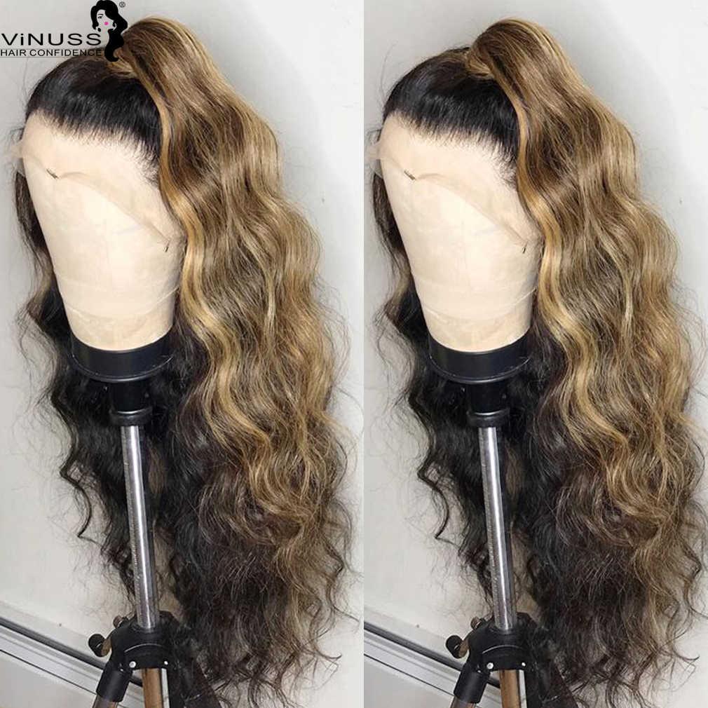 Ombre 1B/27 # Honig Blonde Spitze Front Menschliches Haar Perücken Tiefe Abschied Haaransatz Malaysische Remy Gebleichte Knoten Pre gezupft Glueless