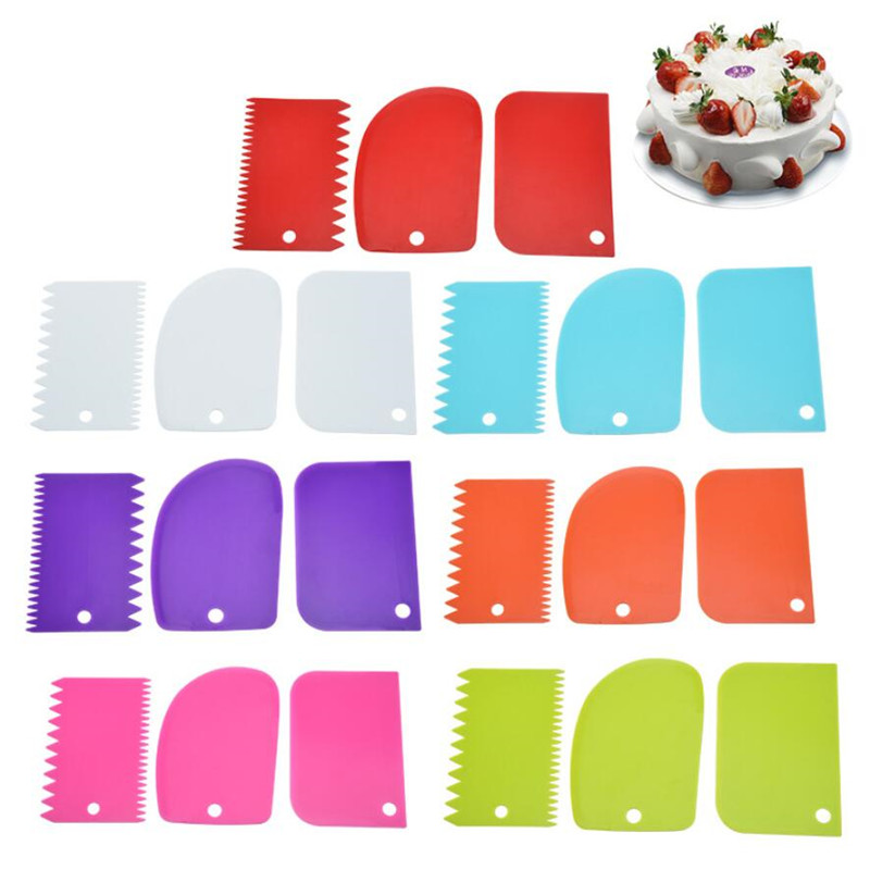 1-3PCS/Lot Spatula Confectionery Cookie cutters Mold for Cake Baking Irregular Teeth Edge Cake Tools DIY Scraper Cake Decorating