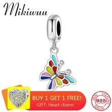 925 пробы Серебряный красочный эмаль CZ цветок Бабочка прекрасный кулон из бисера ювелирные изделия Подходит Pandora браслет