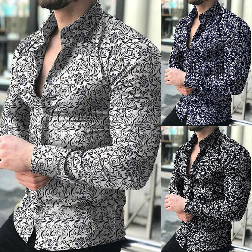 Spring Autumn Business Men Fashion Floral Print  Long Sleeve Shirt Top