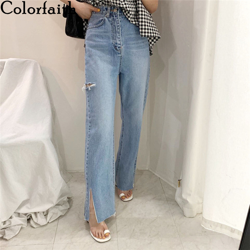 Colorfaith New 2020 Women Summer Autumn Jeans Casual High Waist Trousers Ripped Denim Raw Edge Slit Wild Ankle-Length Pants J537