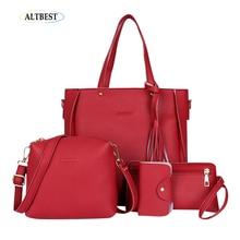 Conjunto de 4 bolsos de mano para mujer, bolso de hombro de diseñador a la moda de cuero Pu, bolso de mensajero negro Vintage para mujer #1104x35