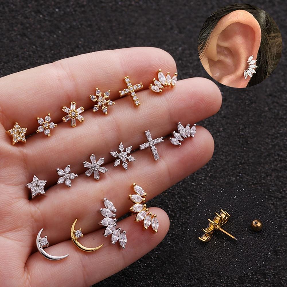Cartilage Earring Snowflake Zircon Stud Earring Single Stainless Steel Helix Lobe Screw Earrings Back Ear Piercing Jewelry