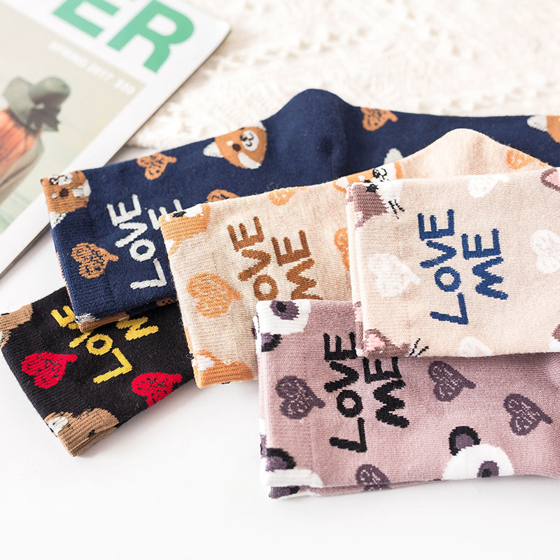 Spring New Women Printed Socks Cute Cartoon Animal Dog  Heart Letters Inscription Black Cotton Funny Socks For Female