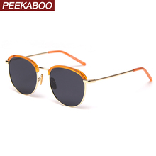Peekaboo retro round sunglasses men polarized korean style h