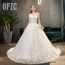 Nova chegada doce elegante princesa luxo rendas vestido de casamento 100 cm barco pescoço apliques celebridade vestido de baile
