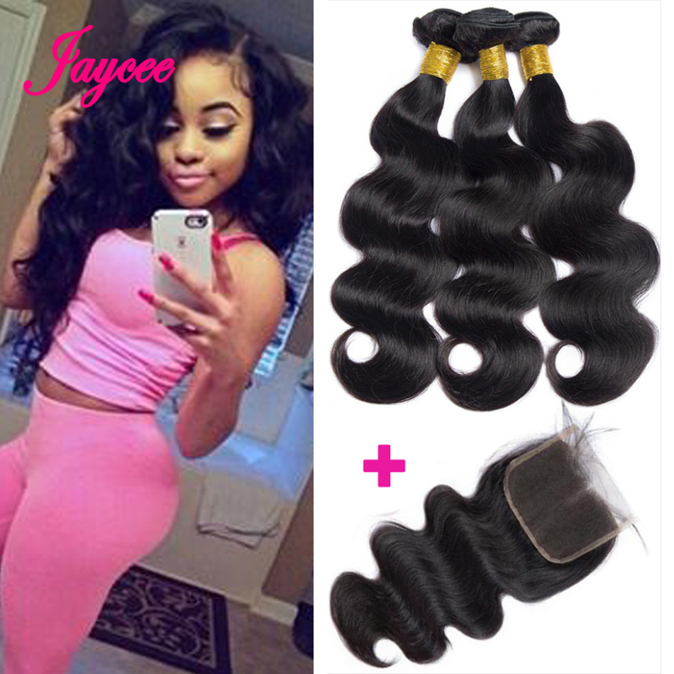 Body Wave Bundles With Closure Meche Bresilienne Remy Human Hair With Closure Brazilian Hair Weave Bundles With Closure
