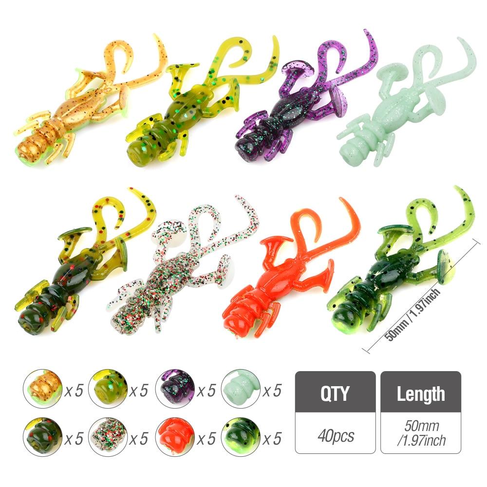 DONQL 40Pcs Worm Soft Fishing Lure Kit Silicone Artificial Soft Bait Jiging +10 Pcs Lead Head Hook +10 Crank Hook Soft Lures Set001 (2)