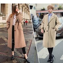 купить Plus size XL-3XL Women Coat outerwear winter clothing fashion warm woolen blends female elegant Single Breasted Long woolen coat по цене 803.07 рублей