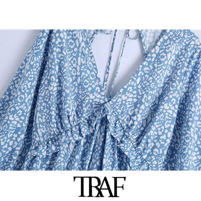 TRAF Women Chic Fashion Animal Print Ruffle Mini Dress Vintage Backless Bow Tied Side Zipper Female Dresses Vestidos 3