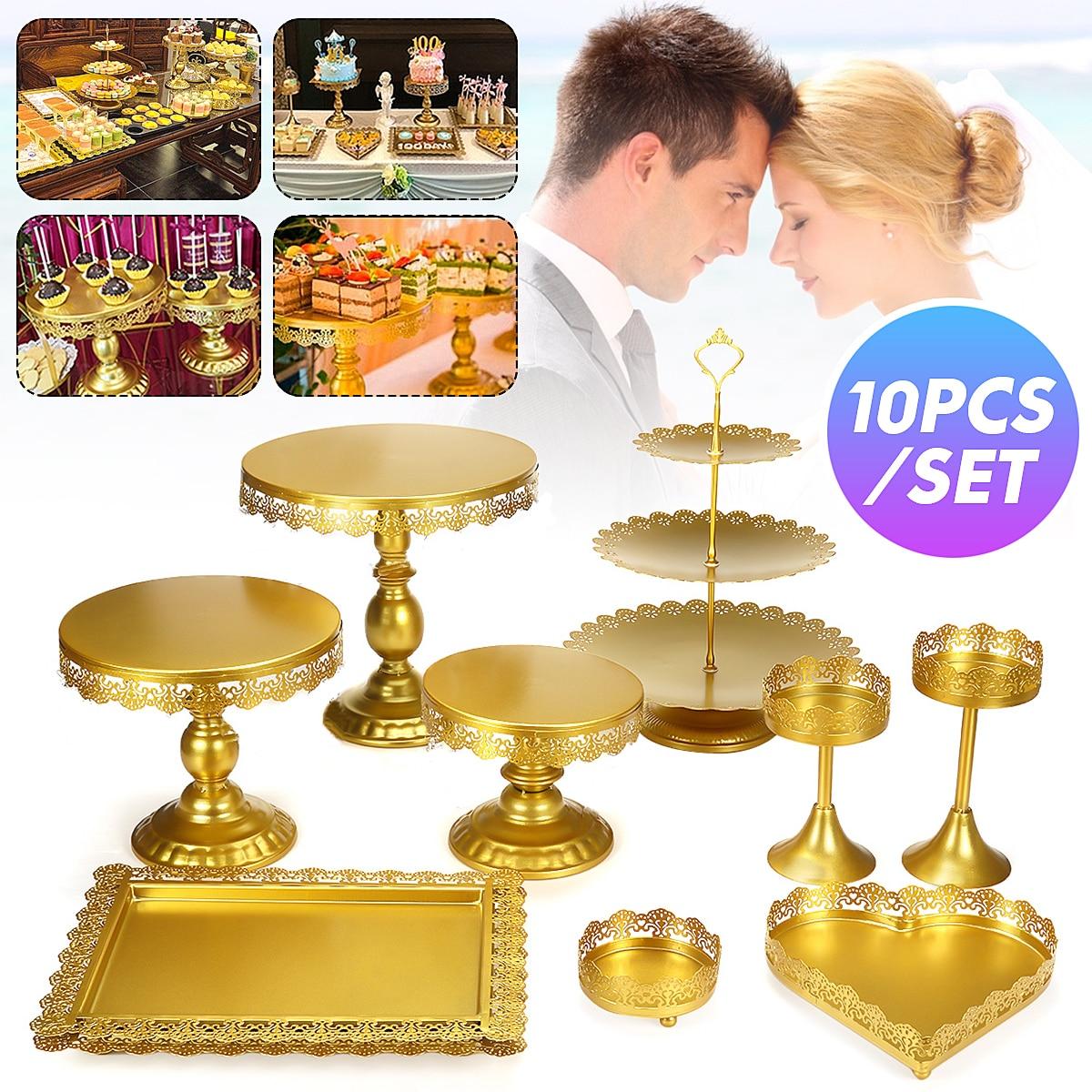 10 шт. из золотистого металла в виде пирожного в чашке держатель Подставка для десерта комплект свадебное мероприятие вечерние Дисплей башн...