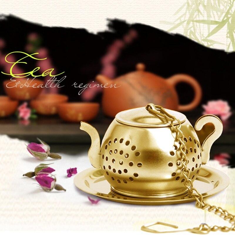 Gold Mesh Stainless Steel Tea Pot Spice Herb Strainer Filter