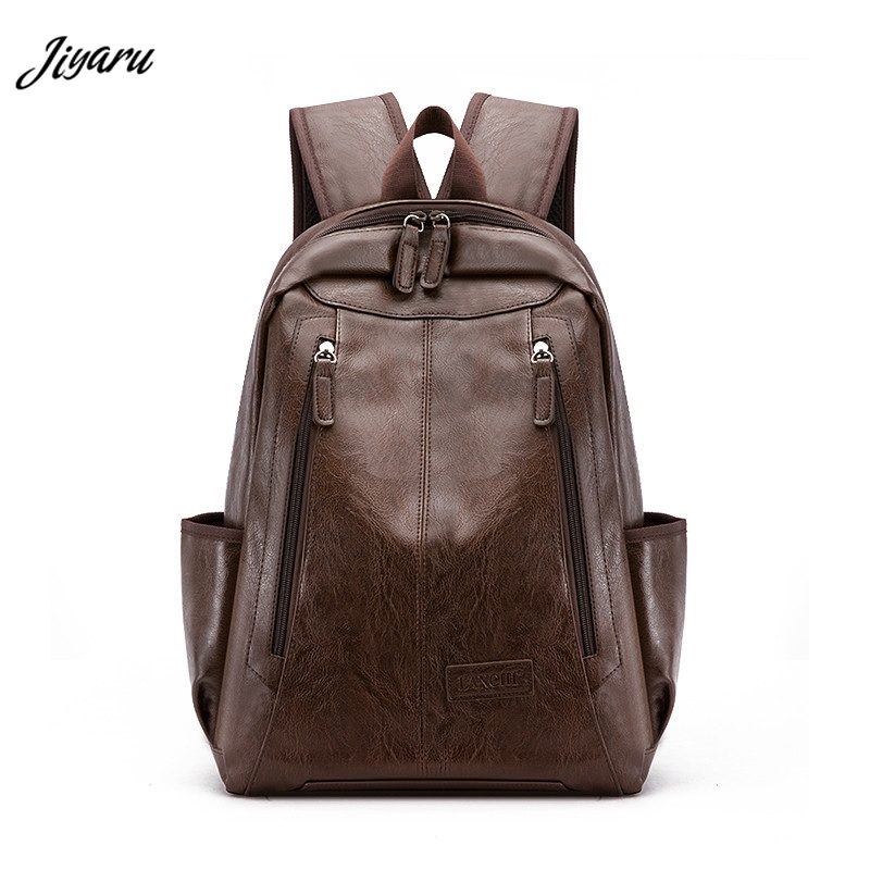 Jiyaru 2019 Casual Backpacks Students School Bags Faux Leather Backpacks Waterproof School Bags Business Man Backpacks