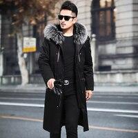 Real Fur Coat Men Rabbit Fur Coat Real Fur Parka Mens Clothing 2020 Fox Fur Collar Winter Coat Men Casaco MA8201NX802 YY1125